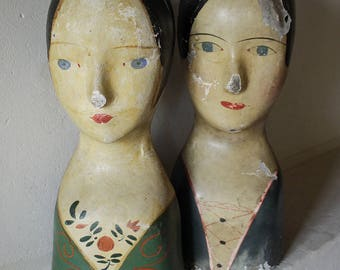Pair of French marottes miliners hat display stands. Tete modiste 19th c.