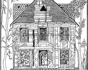 Abandoned House Pen and Ink Print Digital Download