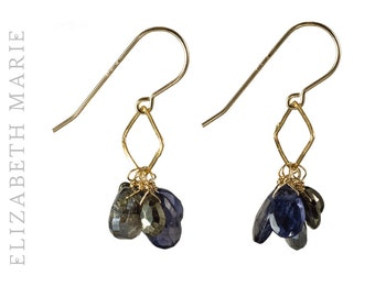Gold Pyrite with Iolite and Black Quartz Cluster Earrings on 14K Gold Filled French Earwire