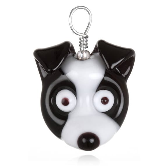 Glass Dog Pendent Necklace on Leather