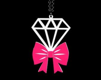 Tie it With A Bow Diamond Necklace -  Acrylic Laser Cut Necklace (C.A.B. Fayre Original Design)