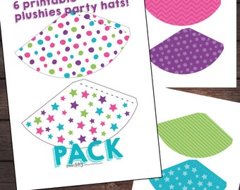 Mini-hats for plushies, Pet Adoption Party, Puppy party printables, Cat birthday printables, DIGITAL, Instant download