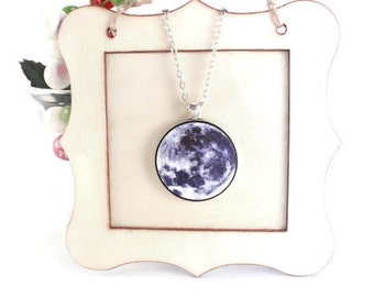 Moon Necklace Galaxy Celestial Science Solar System Charm - Large