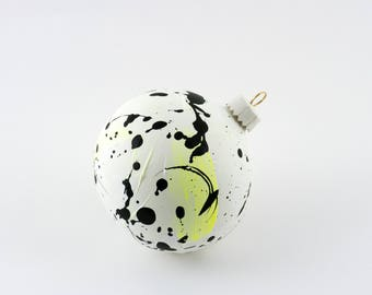 Hand Painted Bauble // Christmas Decoration // White and Yellow Limited Edition // God Colours Collection // Ceramic Ornament