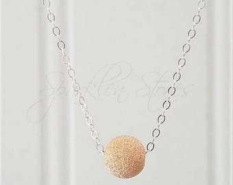 Silver Stardust Necklace, Silver Ball Necklace, Minimalist Necklace, Layering Necklace, Sterling Silver Stardust Necklace