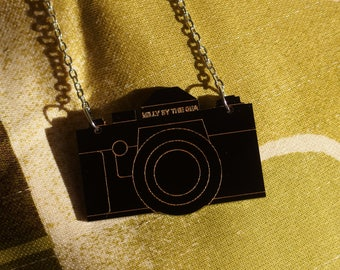 "Black Laser Cut Acrylic Camera Necklace 20"" Silver Chain"