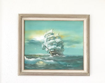 Vintage Signed Ship Painting /Seascape Painting / Nautical Decor / Herison J