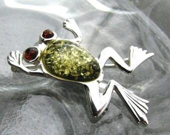 Multi Amber Frog Brooch