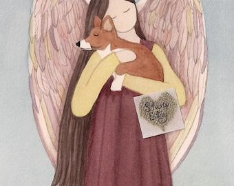 Pembroke Welsh Corgi with angel / Lynch signed folk art print