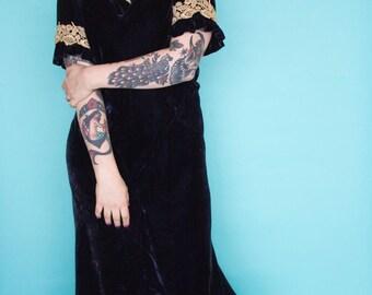 1930s Dress / 30s Blue Velvet & Lace Gown /
