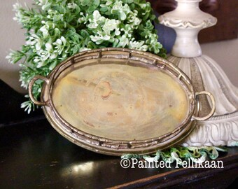 Small Oval Brass Tray, Vintage Brass Tray, Faux Bamboo Tray, Decorative Brass Tray, Vanity Tray, Business Card Holder,