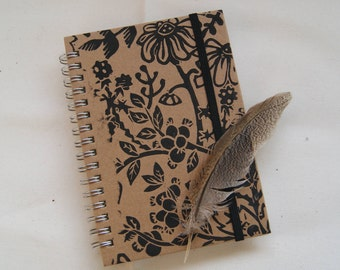 Seconds 50% Off! Mouse In The Hedgerow Lino Print A6 Hardback Notebook Hand-Printed