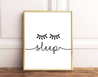Sleep printable, Sleep print, Sleep wall decor, Bedroom wall decor, Eyelashes printable, Eyelashes wall decor, Nursery wall decor
