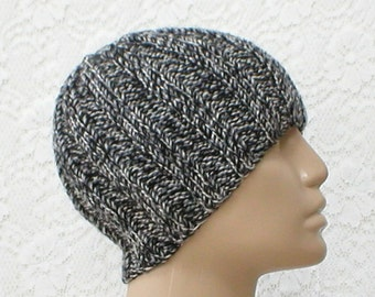 Black gray white tweed beanie hat, skull cap, toque, ribbed beanie hat, knit hat, mens womens hat, chemo cap, black gray hat, skateboard hat