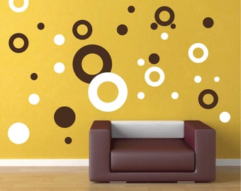 Ring Decals Shapes Murals Kids Bedroom Ring and Dots Wall Art Stickers Wall Decals Dots For Walls, Peel and Stick Polka Dots Decals, d35