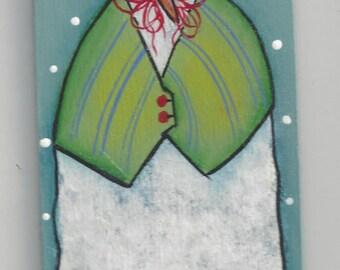 Green Vested Snowman Ornament