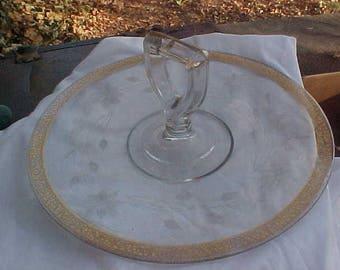 Tiffiin Gold crust handled tray server butler etched