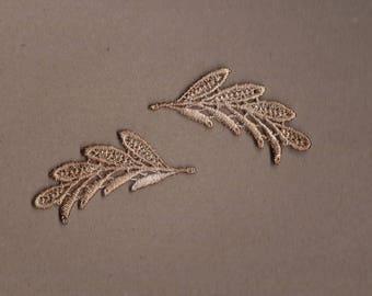 Hand Dyed Venise Lace Appliques Dainty Leaf Accents Set of 2 Vintage Tea