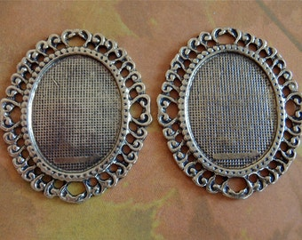 2 - Antique Bronze - Oval -  Blank Pendant Settings  (RABPB)