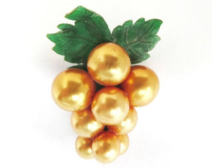 Gold Berries Brooch - Vintage Art Deco Celluloid Pin