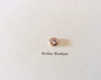 Pearl 5 mm gold plated & cubic zirconia