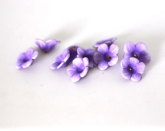 Wild Petunia Beads, Polymer Clay Beads, Light Purple, Flower Beads 10 Pieces