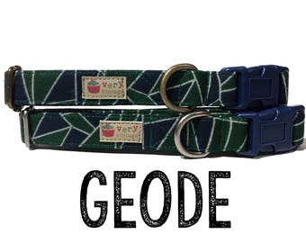 "Geometric Bold Green Blue Southwestern Dog Collar - Organic Cotton - Antique Brass Silver Hardware - ""The Geode"""