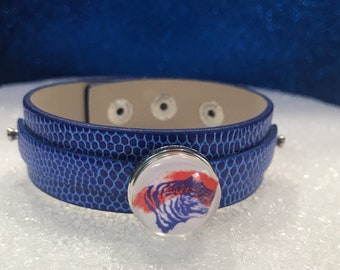 Savannah State University Tigers Leather Bracelet W/ Glass Beads