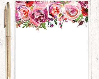 personalized notePAD - PINK WATERCOLOR ROSES - personalized stationary - flower stationery - letter writing paper - flower notepad