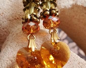 Fall Color Swarovski Heart Earrings