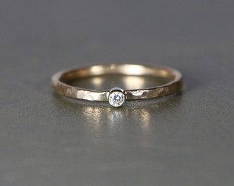 Dainty Textured Gold And Silver Stacking Ring With Selected Faceted Stone