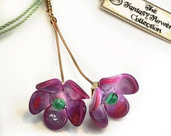 Purple and Green Lampwork Flower Headpin Pair