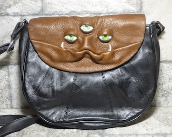 Cross Body Adjustable Purse With Face Monster Black Leather Harry Potter Labyrinth Unique Gift 445
