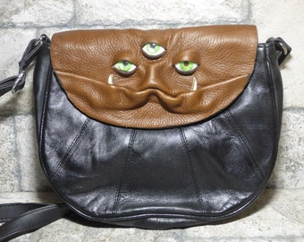 Cross Body Adjustable Purse With Face Monster Black Leather Unique Gift 445