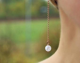 Rose Gold Stud Earrings 925 Silver Drop Earrings Rock Crystal Beads Earrings Gemstone Earrings Long Chain Earrings Chain Post Earrings Studs