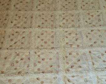 Rag Quilt Owls Baby Crib Toddler Security Blanket Flannel