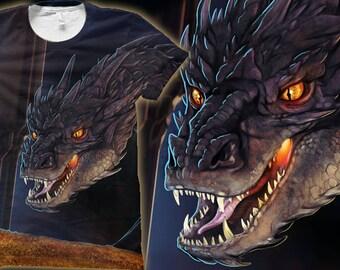 JEUNESSE - le Dragon Smaug de Hobbit «Vous avez les bonnes manières pour un voleur» All-Over-impression T-shirt
