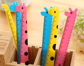 3 x Cute Children's Animal Ruler - 15cm Long. Ideal Measuring Tools, Party Bag Fillers & Stationery for School Pencil Case.