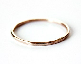 Ring - 14K Gold Filled Ring - Thin Hammered Gold Ring Band - Stacker Ring - Unisex - Gold and Silver Wedding Band - Promise Ring