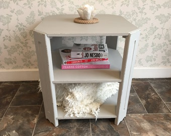 Pale Grey Side Table with shelf