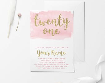 Gold Printable Birthday Invitation, Custom Printable Invitation, 30th Birthday, 21st Birthday, 18th Birthday, DIY Birthday Invitation, Pink