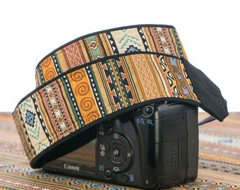 Tribal Stripe dSLR Camera Strap, Southwestern, Camera Neck Strap, Canon Nikon Strap, Pocket, Photography, SLR,  Native American Inspired,141