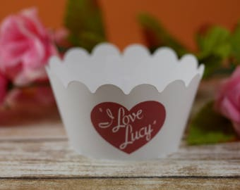 I Love Lucy cupcake wrappers, I Love Lucy theme, cupcake wrapper, birthday favor, Cupcake Wrap