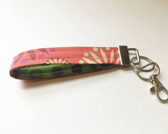 Peachy Floral with Green Floral Liner Key Wristlet / Key Fob - Swivel Lobster Clasp