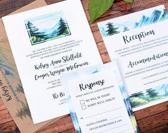 Wedding Invitations - DEPOSIT TO START Simple Vista Suite - Custom Wedding Invites - Personalized Wedding Invitations - Mountains - wdi-249