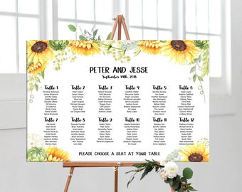 Wedding seating chart with sunflowers, personalized wedding Printable Digital table seating chart, table assignment sunflowers seating plan
