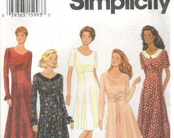 Simplicity 9198 Size 6,8, 10 Women's sewing pattern: empire waist dress with flared skirt, long or short sleeves, collar, mother of bride