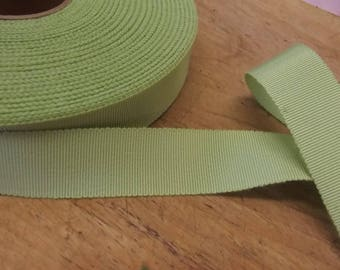 "50 yards vintage light green  7/8""  petersham grosgrain ribbon millinery   cotton rayon sewing trim"
