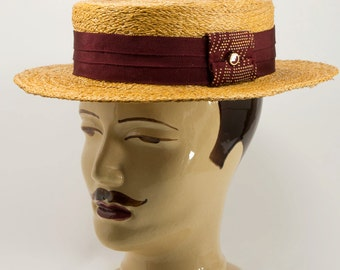 Straw Boater,Canotier, for Men with a Wine Red Headband