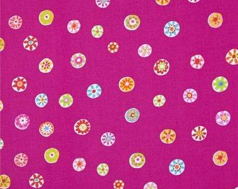 Folk Floral Dot (Fuchsia) - Melodies - Sarah Campbell - Michael Miller Fabrics - 1 Yard